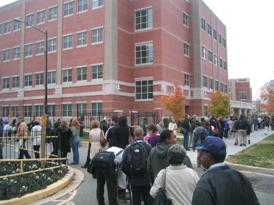 Election day, Precinct 39, Ward 1, Bell Multicultural High School, District of Columbia, 4 November 2008