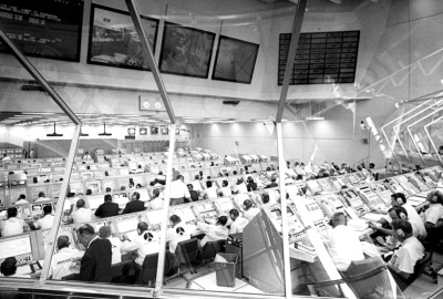 Countdown to launch of Apollo 11, Firing Room 1, Kennedy Space Flight Center, 16 July 1969