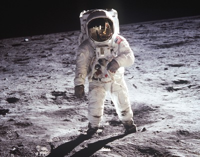 20 July 1969, Buzz Aldrin walking on the Moon