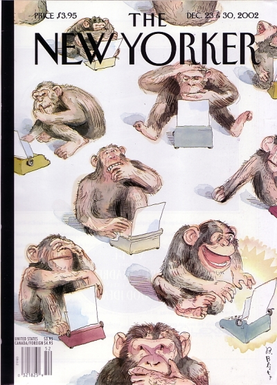 23 December 2002 New Yorker, the Fiction Issue, chimps on typewriters on the cover