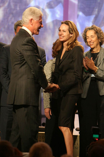 Bill Clinton and Angelina Jolie at the launch of the Clinton Global Initiative
