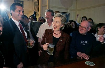 Hillary Clinton throwing back a brew, Bronko's Restaurant and Lounge, Crown Point, Indiana, 12 April 2008