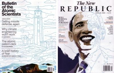 May-June 2008 Bulletin of the Atomic Scientist and 28 May 2008 New Republic, both with color by number themed covers