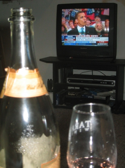 3 June 2008, Obama wins! A toast!