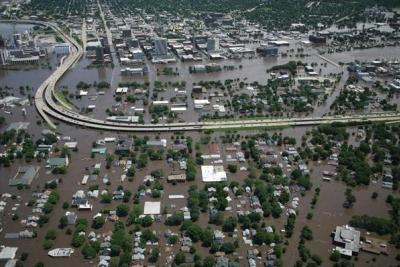 Flooding in downtown Cedar Rapids, Iowa, 13 June 2008