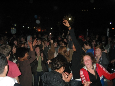 Celebrating the Obama victory, Pennsylvania Avenue in front of the White House, 3:35 AM, 5 November 2008