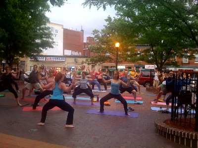 Yoga in the triangle park in Mount Pleasant, Washington, D.C., 16 June 2009