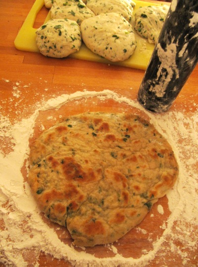 My first attempt at naan, a vegan cilantro version, 20 August 2009
