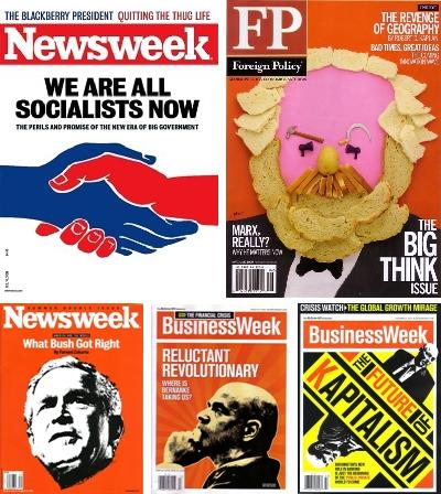March 2008-May 2009, Newsweek, Foreign Policy and BusinessWeek, varying degrees of questioning capitalism