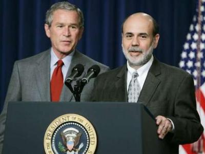 Federal Reserve Chairman Ben Bernanke and President George W. Bush