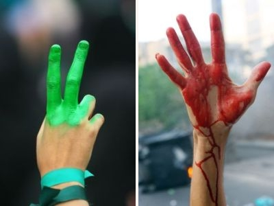 The green hand of peace or the red hand of war? Iran, June 2009