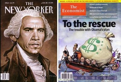 26 January 2009 The New Yorker and 14 February 2009 Economist, both with Barack Obama as George Washington