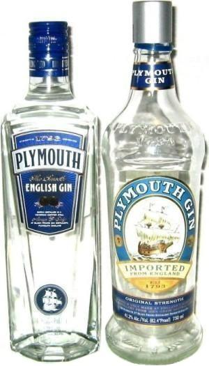 Plymouth English Gin, the original and the redesigned bottles