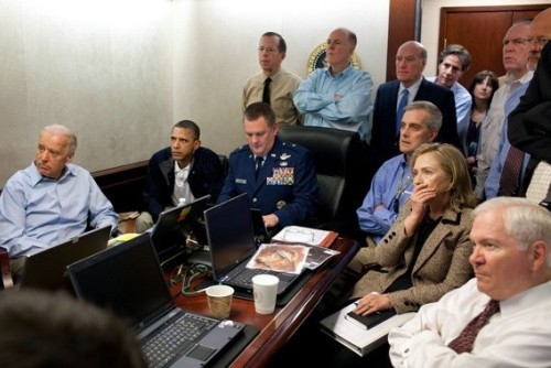 Hillary Clinton witnessing the death of Osama bin Laden, Situation Room, the White House, 1 May 2011