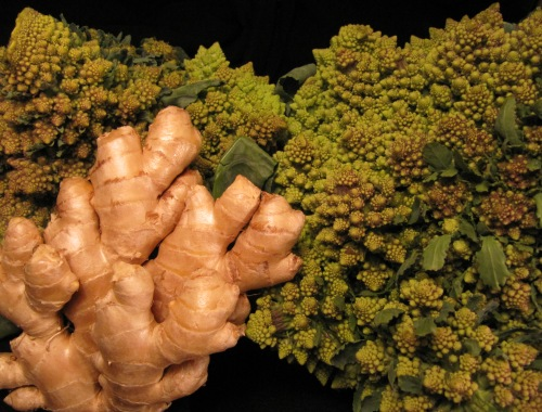Romanesco broccoli from the Mt. Pleasant farmers' market and ginger, 29 October 2011