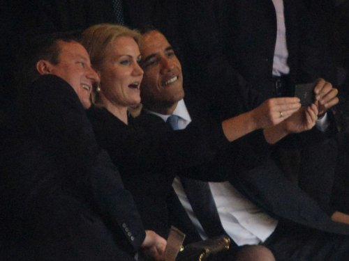 U.S. President Barack Obama, Danish Prime Minister Helle Thorning-Schmidt and U.K. Prime Minister David Cameron take a selfie at Nelson Mandela's funeral, Johannesburg, South Africa, 10 December 2013, by Steve Harvey