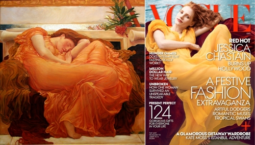 Annie Leibovitz's December 2013 Vogue cover, Jennifer Chastain as Frederic Leighton's Flaming June